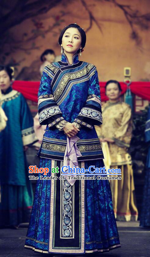 Traditional Ancient Chinese Republic of China Young Mistress Blue Costume, Asian Chinese Late Qing Dynasty Embroidered Xiuhe Suit Clothing for Women