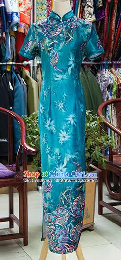 Traditional Ancient Chinese Republic of China Blue Cheongsam, Asian Chinese Chirpaur Qipao Dress Clothing for Women
