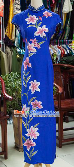 Traditional Ancient Chinese Republic of China Printing Flowers Blue Cheongsam, Asian Chinese Chirpaur Qipao Dress Clothing for Women