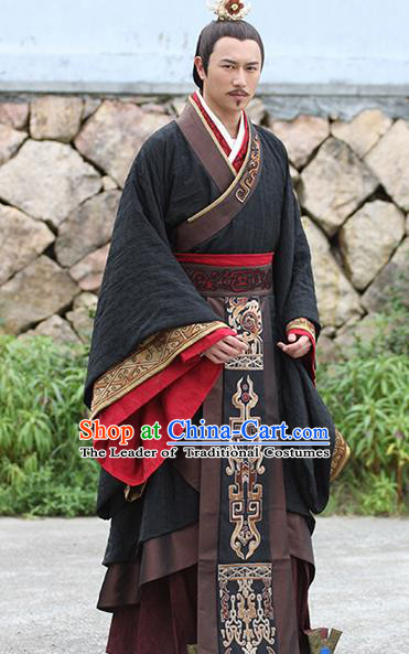 Traditional Ancient Chinese Imperial Emperor Costume, Chinese Han Dynasty Majesty Embroidered Clothing for Men