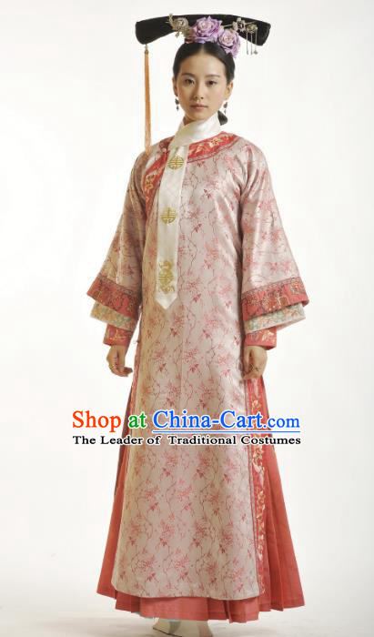 Traditional Ancient Chinese Imperial Princess Pink Costume, Chinese Qing Dynasty Manchu Palace Lady Embroidered Clothing for Women