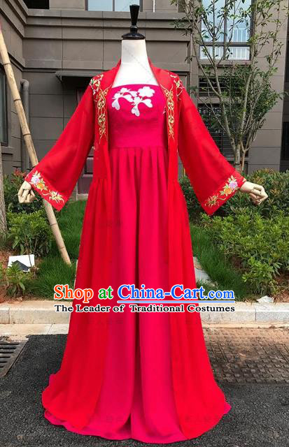 Traditional Ancient Chinese Imperial Princess Fairy Costume, Elegant Hanfu Clothing Chinese Tang Dynasty Palace Lady Red Clothing for Women