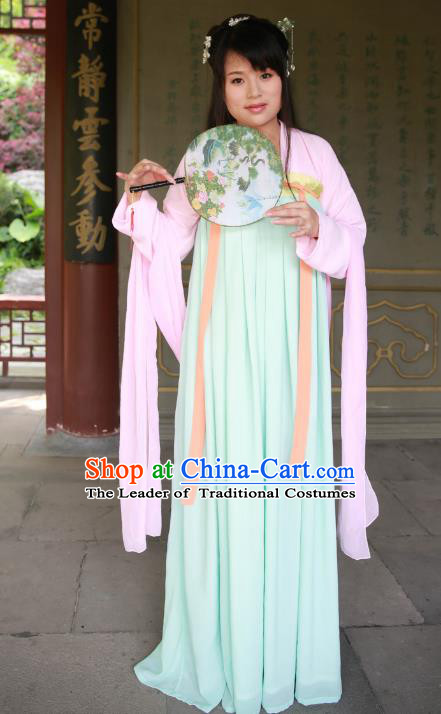 Traditional Ancient Chinese Imperial Princess Hanfu Costume, Asian China Tang Dynasty Palace Lady Green Dress Clothing for Women