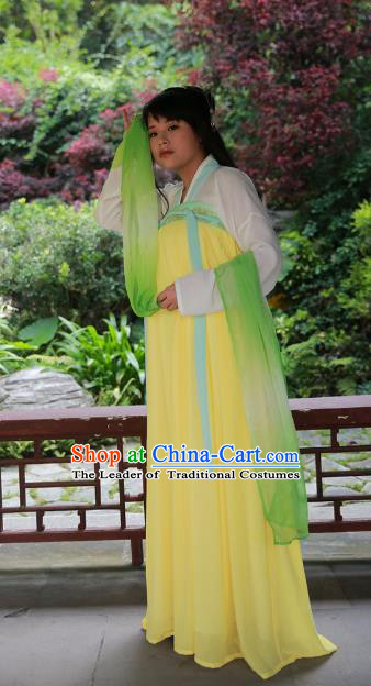 Traditional Ancient Chinese Imperial Princess Hanfu Costume, Asian China Tang Dynasty Palace Lady Yellow Dress Clothing for Women