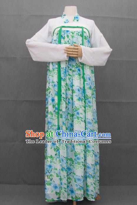 Traditional Ancient Chinese Imperial Princess Hanfu Printing Costume, Asian China Tang Dynasty Palace Lady Green Dress Clothing for Women