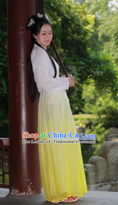 Traditional Ancient Chinese Imperial Princess Hanfu Yellow Costume, Asian China Tang Dynasty Palace Lady Dress Clothing for Women