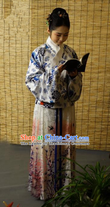 Traditional Chinese Ancient Young Lady Printing Blue Costume, Asian China Ming Dynasty Imperial Concubine Hanfu Clothing for Women