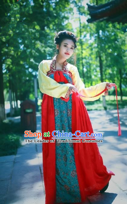 Traditional Chinese Ancient Palace Lady Costume Red Embroidered Slip Skirt, Asian China Tang Dynasty Imperial Concubine Hanfu Dress Clothing for Women