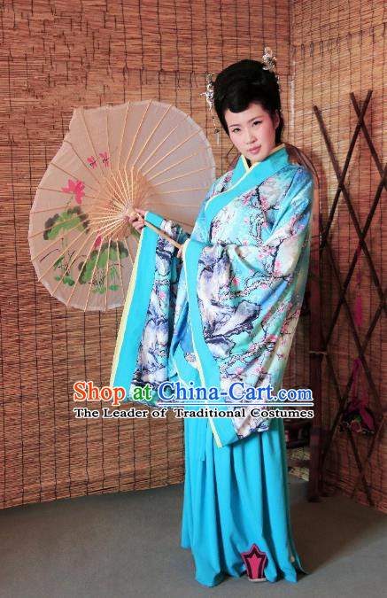 Traditional Chinese Ancient Young Lady Costume Printing Blue Curve Bottom, Asian China Han Dynasty Imperial Concubine Hanfu Clothing for Women