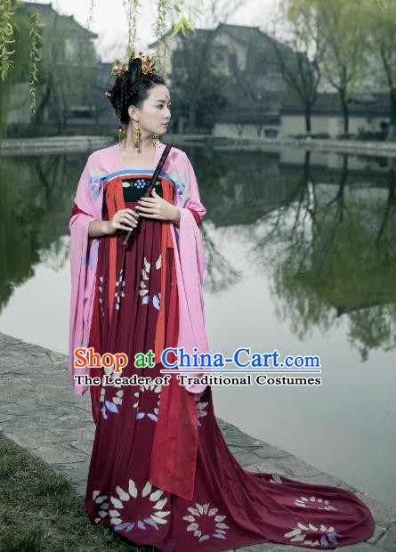 Traditional Chinese Ancient Costume Palace Lady Red Slip Skirt, Asian China Tang Dynasty Imperial Princess Hanfu Dress Clothing for Women