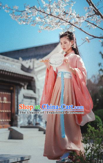 Traditional Chinese Ancient Costume Palace Lady Pink Dress, Asian China Jin Dynasty Imperial Princess Hanfu Clothing for Women