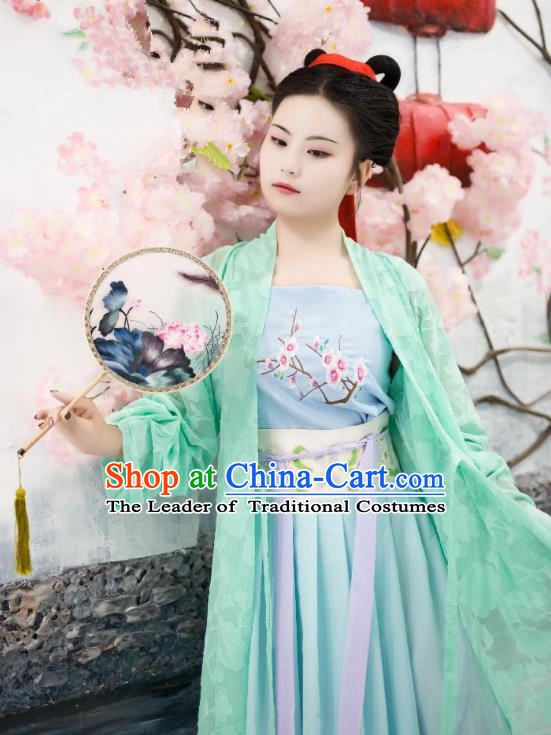 Traditional Chinese Ancient Costume Palace Lady Green Embroidered BeiZi, Asian China Song Dynasty Imperial Princess Cardigan Clothing for Women