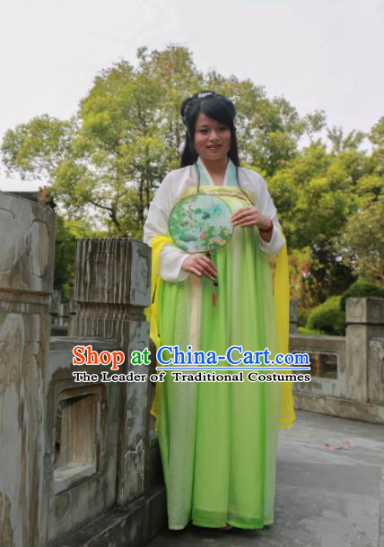 Traditional Ancient Chinese Princess Hanfu Costume, Asian China Tang Dynasty Palace Lady Green Dress Clothing for Women