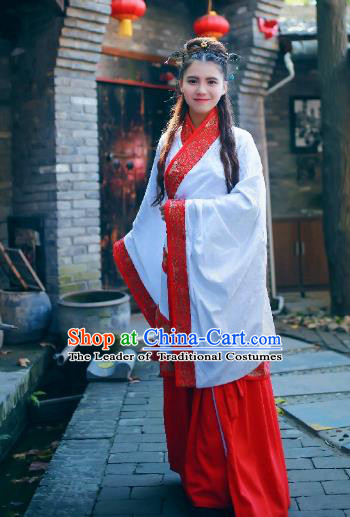 Traditional Chinese Ancient Palace Lady Costume White Embroidered Curve Bottom, Asian China Han Dynasty Imperial Concubine Hanfu Dress Clothing for Women