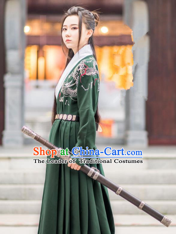 Traditional Ancient Chinese Swordsman Hanfu Costume Embroidered Green Long Robe, Asian China Ming Dynasty Imperial Guards Clothing for Men