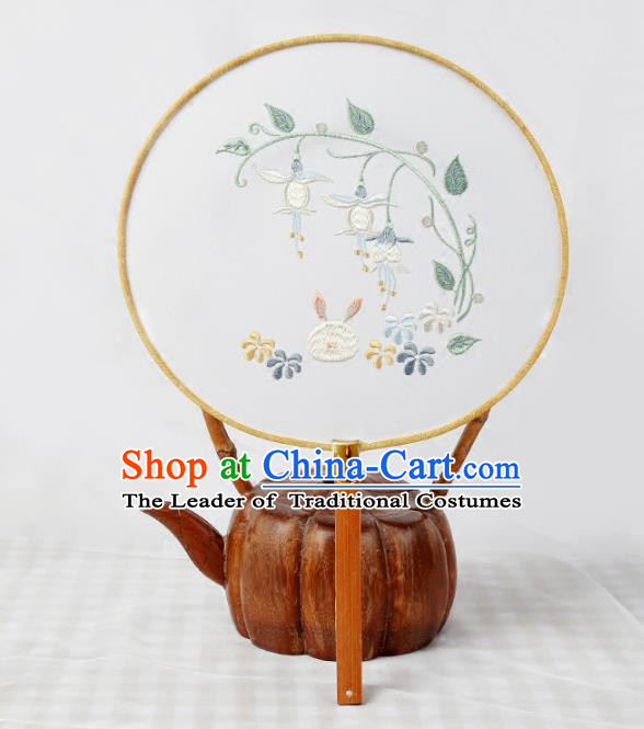 Traditional Ancient Chinese Palace Lady Embroidered Round Fans for Women