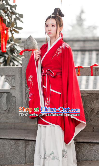 Traditional Ancient Chinese Young Lady Hanfu Embroidered Costume Red Curve Bottom, Asian China Han Dynasty Imperial Princess Clothing for Women