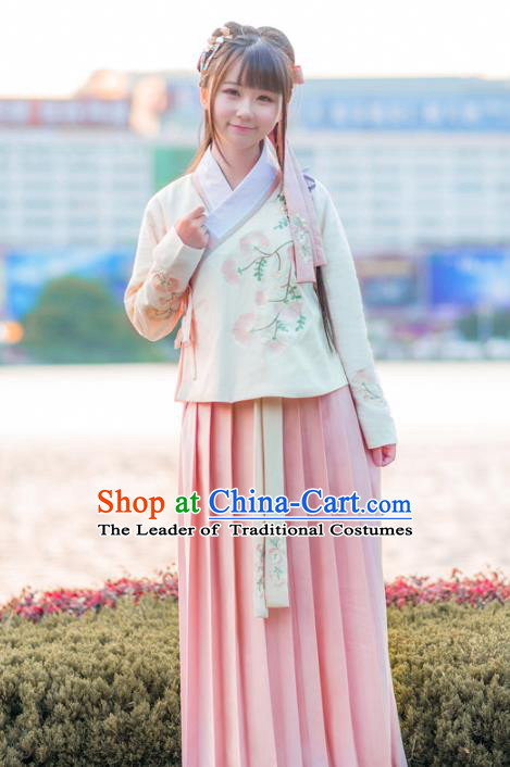 Traditional Ancient Chinese Young Lady Embroidered Costume Complete Set, Asian China Ming Dynasty Imperial Princess Hanfu Clothing for Women
