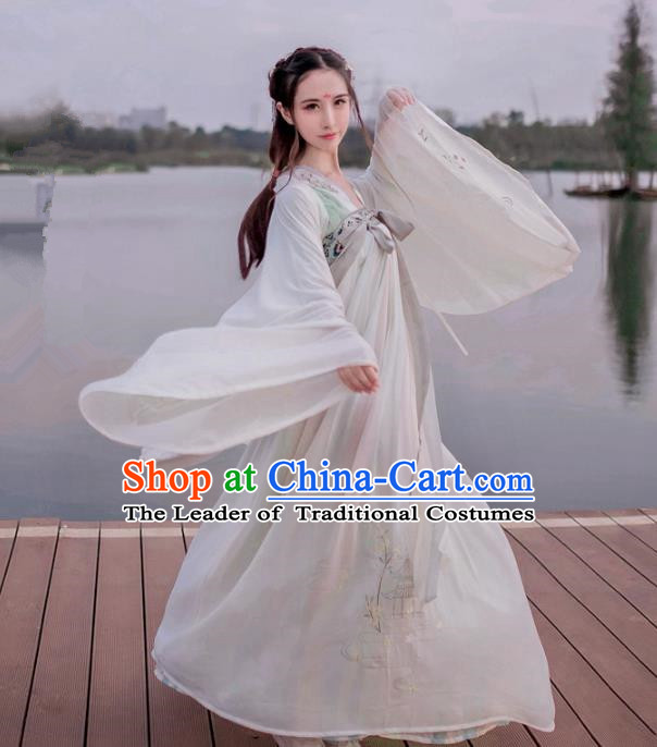 Traditional Ancient Chinese Palace Lady Hanfu Costume Grey Embroidered Blouse and Skirt, Asian China Tang Dynasty Princess Dress Clothing for Women