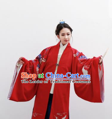 Traditional Ancient Chinese Palace Lady Hanfu Costume Red Embroidered Cloak, Asian China Ming Dynasty Empress Cardigan Clothing for Women