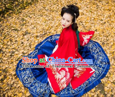 Traditional Ancient Chinese Palace Lady Hanfu Costume Red Embroidered Cloak and Skirt, Asian China Ming Dynasty Empress Clothing for Women