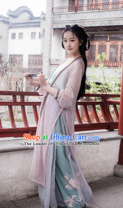 Traditional Ancient Chinese Song Dynasty Young Lady Costume Blouse and Pants, Elegant Hanfu Clothing Chinese Dress Clothing for Women