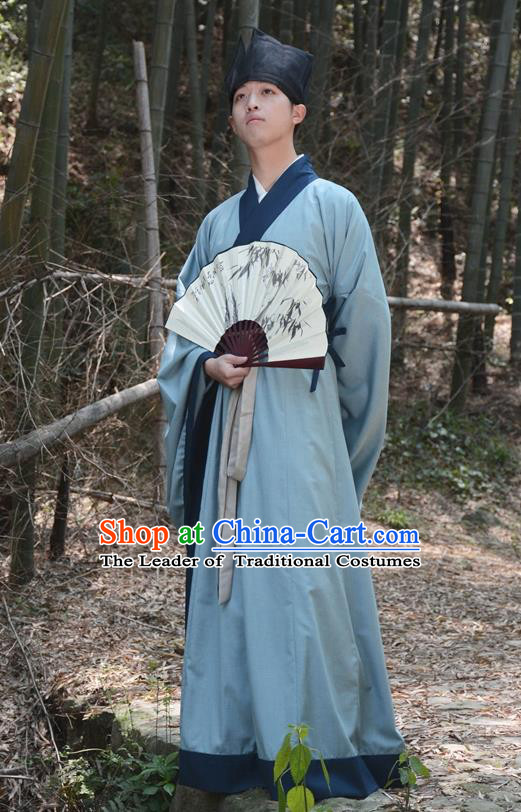 Traditional Ancient Chinese Hanfu Embroidered Scholar Costume, Asian China Han Dynasty Clothing for Men