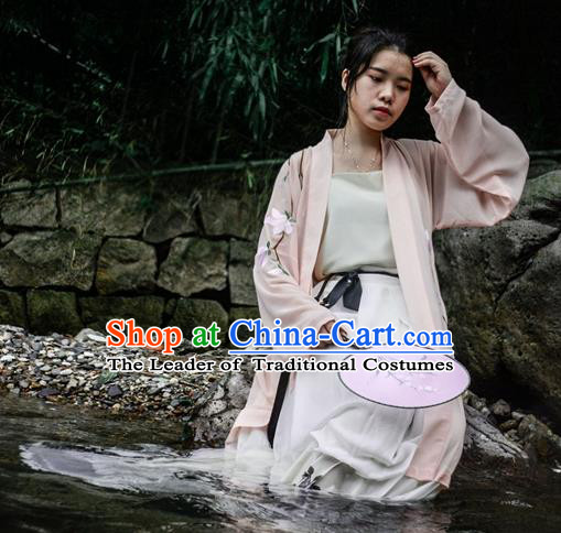 Traditional Ancient Chinese Young Lady Hanfu Costume Pink Embroidered BeiZi, Asian China Tang Dynasty Imperial Princess Cardigan Clothing for Women