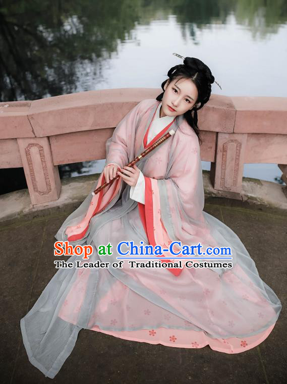 Traditional Ancient Chinese Palace Lady Hanfu Costume, Asian China Jin Dynasty Imperial Princess Dress Clothing for Women