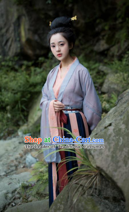 Traditional Chinese Tang Dynasty Imperial Consort Hanfu Costume, Asian China Ancient Princess Clothing for Women