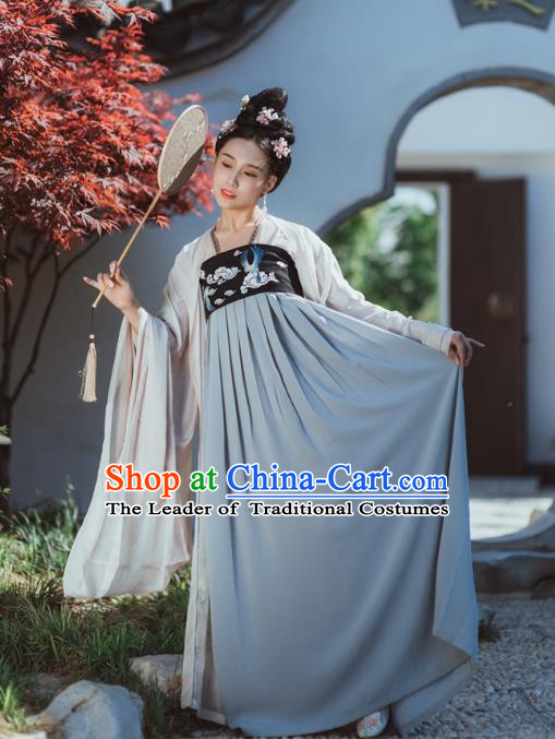 Traditional Chinese Ancient Palace Lady Embroidered Cloak Costume, Asian China Tang Dynasty Princess Dress Clothing Complete Set