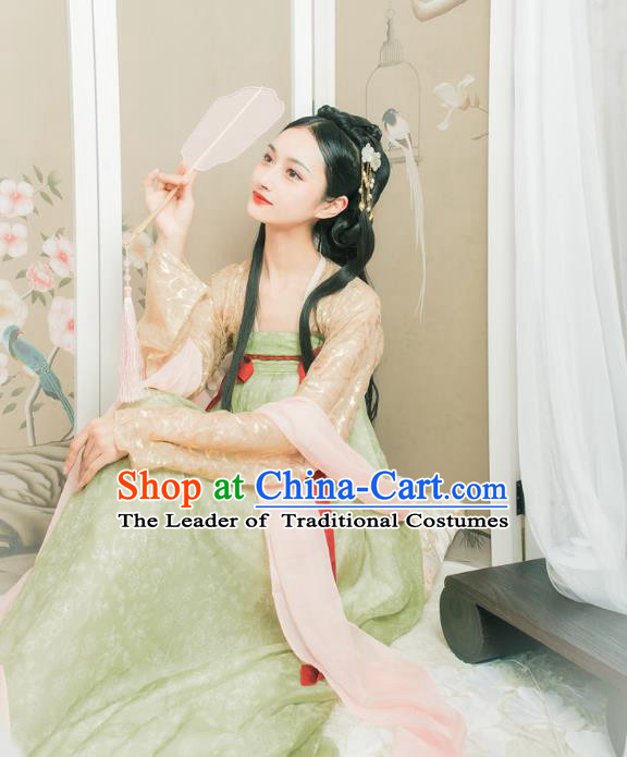 Traditional Chinese Ancient Costume Princess Embroidered Cardigan and Slip Skirt, Asian China Tang Dynasty Palace Lady Hanfu Clothing for Women