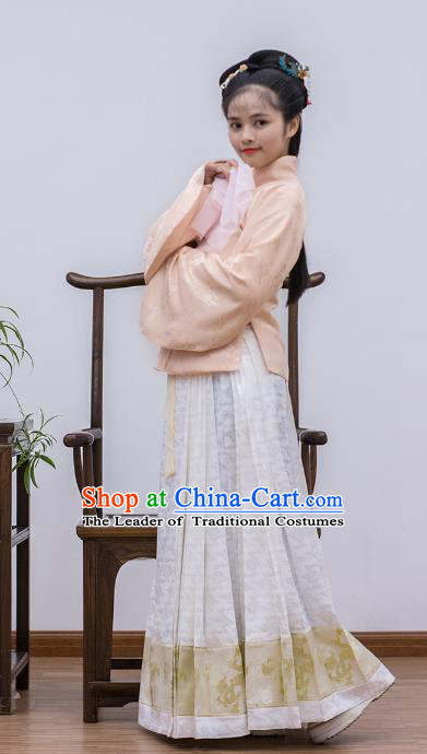 Traditional Chinese Ancient Costume Palace Lady Embroidered Pink Blouse and Slip Skirt, Asian China Ming Dynasty Imperial Princess Hanfu Dress Clothing for Women