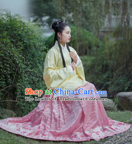 Traditional Chinese Ancient Costume Palace Lady Embroidered Yellow Blouse and Skirt, Asian China Ming Dynasty Princess Hanfu Dress Clothing for Women
