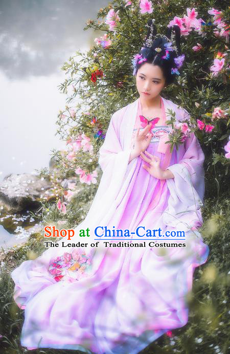 Traditional Chinese Ancient Costume Imperial Concubine Pink Dress, Asian China Tang Dynasty Palace Lady Clothing Complete Set for Women