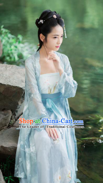 Traditional Chinese Ancient Costume Princess Embroidered Blouse and Skirt, Asian China Song Dynasty Palace Lady Hanfu Clothing for Women