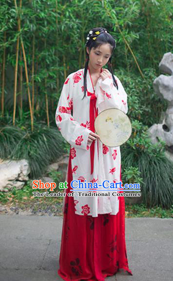 Traditional Chinese Ancient Costume Lin Daiyu Dress, Asian China Ming Dynasty Nobility Lady Hanfu Clothing for Women