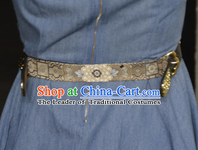 Traditional Ancient Chinese Hanfu Black Belts, Asian China Song Dynasty Imperial Guards Leather Waistband for Men