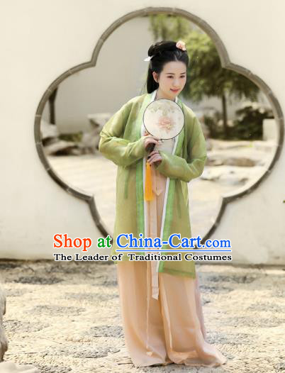 Traditional Chinese Ancient Costume Princess Green Silk BeiZi and Pants, Asian China Song Dynasty Palace Lady Hanfu Clothing for Women