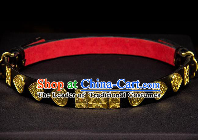 Traditional Ancient Chinese Swordsman Hanfu Belts, Asian China Ming Dynasty Imperial Guards Leather Waistband for Men