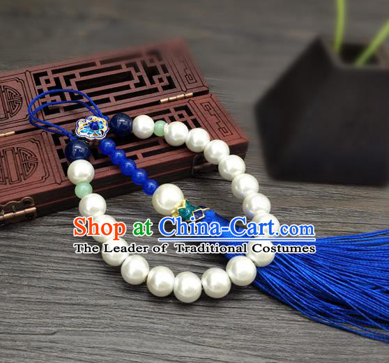 Traditional Handmade Chinese Ancient Classical Qing Dynasty Manchu Queen Pearls Tassel Breastpin Pendant Brooch for Women