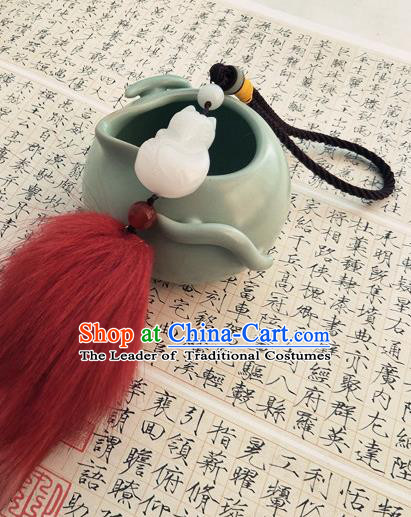 Traditional Handmade Chinese Ancient Classical Hanfu Accessories Tassel Jade Pendant Waist Decorations for Women