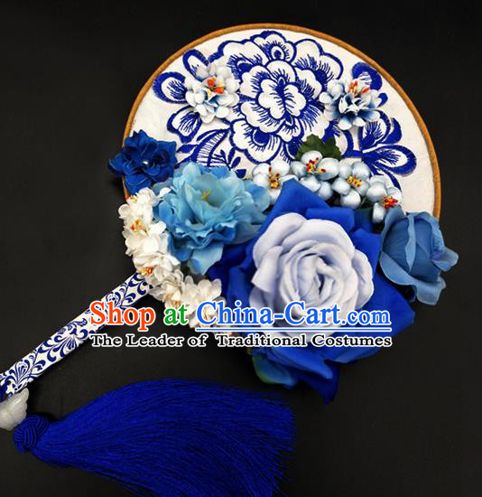 Traditional Handmade Chinese Ancient Classical Hanfu Palace Lady Embroidered Blue Round Fans for Women