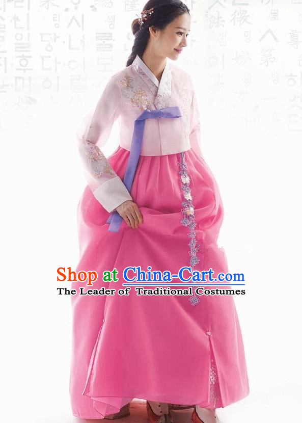 Traditional Korean Costumes Bride Formal Attire Ceremonial Pink Blouse and Full Dress, Korea Hanbok Court Embroidered Wedding Clothing for Women