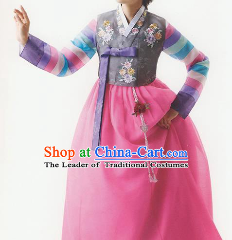 Traditional Korean Costumes Bride Formal Attire Ceremonial Grey Blouse and Full Dress, Korea Hanbok Court Embroidered Wedding Clothing for Women