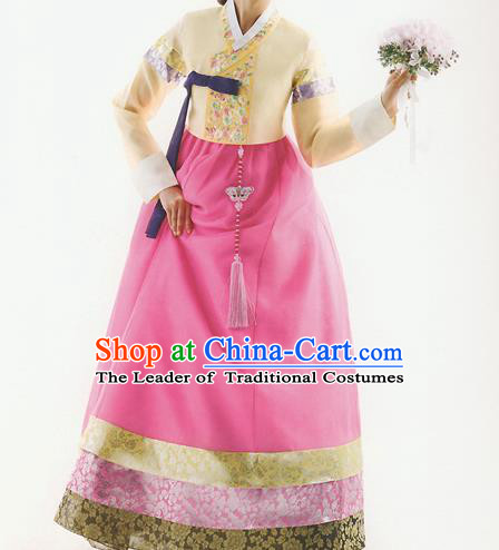 Traditional Korean Costumes Bride Formal Attire Ceremonial Yellow Blouse and Full Dress, Korea Hanbok Court Embroidered Wedding Clothing for Women