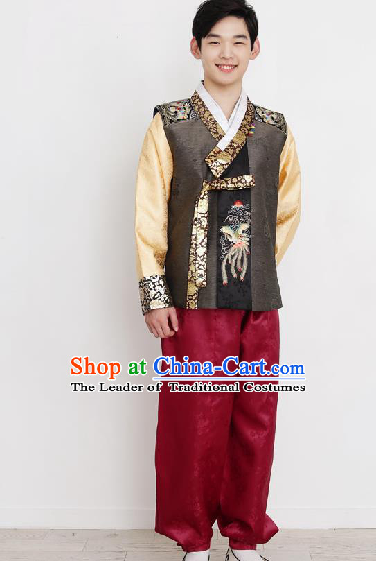 Traditional Korean Costumes Bridegroom Formal Attire Ceremonial Clothes, Korea Hanbok Court Embroidered Clothing for Men