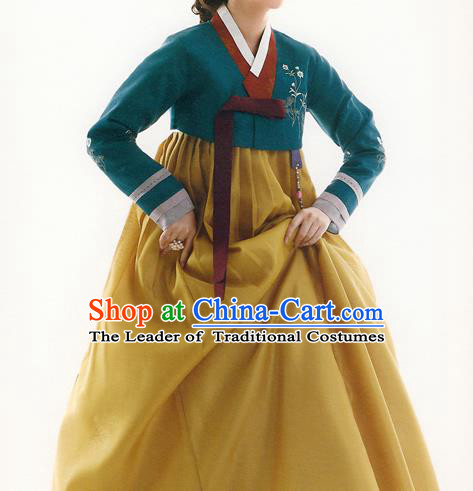 Traditional Korean Costumes Bride Formal Attire Ceremonial Green Blouse and Yellow Dress, Korea Hanbok Court Embroidered Clothing for Women