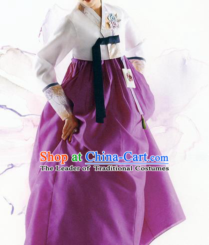 Traditional Korean Costumes Bride Formal Attire Ceremonial White Blouse and Purple Dress, Korea Hanbok Court Embroidered Clothing for Women