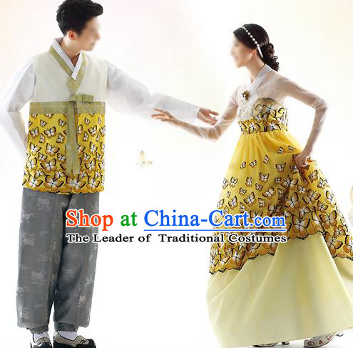 Traditional Korean Costumes Bride and Bridegroom Formal Attire Ceremonial Yellow Clothes, Korea Hanbok Court Embroidered Clothing for Women for Men